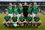 10 April 2018; The Republic of Ireland team, back row, from left, Karen Duggan, Amy Boyle Carr, Diane Caldwell, Marie Hourihan, Niamh Fahey and Louise Quinn, with, front row, Megan Connolly, Katie McCabe, Denise O'Sullivan, Sophie Perry-Campbell and Leanne Kiernan during the 2019 FIFA Women's World Cup Qualifier match between Republic of Ireland and Netherlands at Tallaght Stadium in Tallaght, Dublin. Photo by Stephen McCarthy/Sportsfile