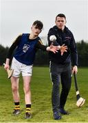 """11 April 2018; GAA star TJ Reid was at Castlecomer Community School in Kilkenny today to launch the GAA Super Games Centre in partnership with Sky Sports at the school. The Super Games Centres which are based all over the country, were set up to reduce youth drop out and encourage """"play to stay"""" amongst youth, specifically between the ages of 12 and 17 where youth drop out is most prevalent. Sky Sports is supporting the GAA Super Games Centres by arranging visits with Sky Sports mentors and providing kits and equipment to the estimated 9000 members countrywide. Pictured is TJ Reid with Castlecomer Community School pupil Tommy Coogan, aged 14, during the launch. Photo by Sam Barnes/Sportsfile"""