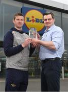 11 April 2018; The Lidl/Irish Daily Star Manager of the Month for March was announced today as Anthony Masterson from Wexford. Under Anthony's stewardship, Wexford have qualified for the Lidl National League Division 3 semi-finals, finishing on top of the table with 18 points from a possible 21. Pictured is Anthony Masterson who was presented with his award by Lidl Gorey store manager Darius Kacinskas at Lidl in Gorey. Photo by Matt Browne/Sportsfile
