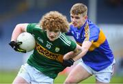 11 April 2018; Paul Walsh of Kerry in action against Shane Lowe of Tipperary during the Electric Ireland Munster GAA Football Minor Championship Quarter-Final match between Tipperary and Kerry at Semple Stadium in Thurles, Co Tipperary. Photo by Matt Browne/Sportsfile