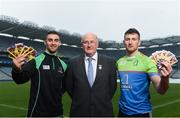 12 April 2018; Cúl Heroes, the official trading cards of the GAA/GPA, launched their 2018 collection at Croke Park with brand ambassadors James McCarthy and Padraic Mannion as well as Noelle Healy and Gemma O'Connor. Cúl Heroes is entering its fourth year on the market and aims to continue its promotion of Gaelic Games, the players and the unique skills of our national sport. In attendance at the launch are Uachtarán Chumann Lúthchleas Gael John Horan alongside Dublin Footballer James McCarthy, left, and Galway hurler Padraic Mannion, right, at Croke Park in Dublin. Photo by David Fitzgerald/Sportsfile