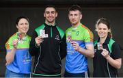 12 April 2018; Cúl Heroes, the official trading cards of the GAA/GPA, launched their 2018 collection at Croke Park with brand ambassadors James McCarthy and Padraic Mannion as well as Noelle Healy and Gemma O'Connor. Cúl Heroes is entering its fourth year on the market and aims to continue its promotion of Gaelic Games, the players and the unique skills of our national sport. In attendance at the launch are, from left, Cork camogie player Gemma O'Connor, Dublin Footballer James McCarthy, Galway hurler Padraic Mannion and Dublin ladies footballer Noelle Healy at Croke Park in Dublin. Photo by David Fitzgerald/Sportsfile