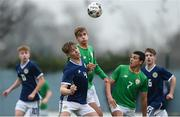 12 April 2018; Nathan Browne of Scotland in action against Adam Rooney of Republic of Ireland during the U18s Schools match between Republic of Ireland and Scotland at Home Farm FC in Whitehall, Dublin. Photo by David Fitzgerald/Sportsfile