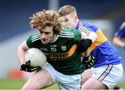 11 April 2018; Paul Walsh of Kerry in action against Shane Lowe of Tipperary during the Electric Ireland Munster GAA Football Minor Championship Quarter-Final match between Tipperary and Kerry at Semple Stadium in Thurles, Co Tipperary. Photo by Matt Browne/Sportsfile Photo by Matt Browne/Sportsfile