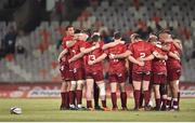13 April 2018; The Munster team huddle prior to the Guinness PRO14 Round 20 match between Toyota Cheetahs and Munster at Toyota Stadium in Bloemfontein, South Africa. Photo by Johan Pretorius/Sportsfile