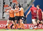 13 April 2018; Clayton Blommetjies of the Toyota Cheetahs celebrates after scoring his side's first try during the Guinness PRO14 Round 20 match between Toyota Cheetahs and Munster at Toyota Stadium in Bloemfontein, South Africa. Photo by Johan Pretorius/Sportsfile