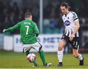 13 April 2018; Krisztián Adorján of Dundalk in action against Corey Galvin of Bray Wanderers during the SSE Airtricity League Premier Division match between Bray Wanderers and Dundalk at the Carlisle Grounds in Bray, Co Wicklow. Photo by Eóin Noonan/Sportsfile