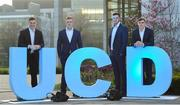 13 April 2018; Leinster players, from left to right, Josh van der Flier, Dan Leavy, James Ryan and Garry Ringrose in attendance during the UCD RFC Annual Dinner 2018 at UCD O'Reilly Hall in Belfield. Photo by Matt Browne/Sportsfile