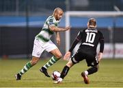 13 April 2018; Ethan Boyle of Shamrock Rovers in action against Keith Ward of Bohemians during the SSE Aitricity League Premier Division match between Shamrock Rovers and Bohemians at Tallaght Stadium in Tallaght, Dublin. Photo by Seb Daly/Sportsfile