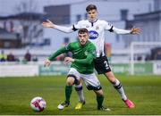 13 April 2018; Corey Galvin of Bray Wanderers in action against Seán Gannon of Dundalk during the SSE Airtricity League Premier Division match between Bray Wanderers and Dundalk at the Carlisle Grounds in Bray, Co Wicklow. Photo by Eóin Noonan/Sportsfile