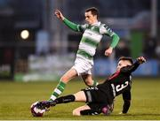 13 April 2018; Sean Kavanagh of Shamrock Rovers is tackled by Darragh Leahy of Bohemians during the SSE Aitricity League Premier Division match between Shamrock Rovers and Bohemians at Tallaght Stadium in Tallaght, Dublin. Photo by Seb Daly/Sportsfile