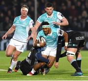 13 April 2018; Bundee Aki of Connacht is tackled by Rob Harley of Glasgow Warriors during the Guinness PRO14 Round 20 match between Glasgow Warriors and Connacht at Scotstown Stadium in Glasgow, Scotland. Photo by Paul Devlin/Sportsfile