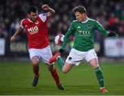 13 April 2018; Kieran Sadlier of Cork City in action against Ryan Brennan of St Patrick's Athletic during SSE Airtricity League Premier Division match between Cork City and St Patrick's Athletic at Turner's Cross in Cork. Photo by Piaras Ó Mídheach/Sportsfile