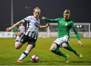 13 April 2018; John Mountney of Dundalk in action against Kevin Lynch of Bray Wanderers during the SSE Airtricity League Premier Division match between Bray Wanderers and Dundalk at the Carlisle Grounds in Bray, Co Wicklow. Photo by Ben McShane/Sportsfile