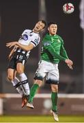 13 April 2018; Robbie Benson of Dundalk in action against Ronan Coughlan of Bray Wanderers during the SSE Airtricity League Premier Division match between Bray Wanderers and Dundalk at the Carlisle Grounds in Bray, Co Wicklow. Photo by Eóin Noonan/Sportsfile
