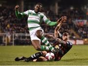 13 April 2018; Dan Carr of Shamrock Rovers is tackled by Rob Cornwall of Bohemians during the SSE Aitricity League Premier Division match between Shamrock Rovers and Bohemians at Tallaght Stadium in Tallaght, Dublin. Photo by Seb Daly/Sportsfile