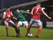 13 April 2018; Barry McNamee of Cork City in action against Owen Garvan, left, and Conan Byrne of St Patrick's Athletic during SSE Airtricity League Premier Division match between Cork City and St Patrick's Athletic at Turner's Cross in Cork. Photo by Piaras Ó Mídheach/Sportsfile