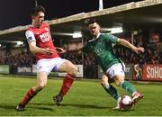 13 April 2018; Jimmy Keohane of Cork City in action against Lee Desmond of St Patrick's Athletic during SSE Airtricity League Premier Division match between Cork City and St Patrick's Athletic at Turner's Cross in Cork. Photo by Piaras Ó Mídheach/Sportsfile