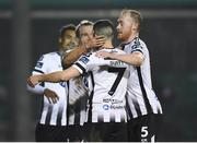 13 April 2018; John Mountney, left, of Dundalk celebrates with team-mate Michael Duffy after scoring his side's second goal during the SSE Airtricity League Premier Division match between Bray Wanderers and Dundalk at the Carlisle Grounds in Bray, Co Wicklow. Photo by Eóin Noonan/Sportsfile