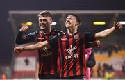 13 April 2018; Keith Buckley, right, and Philip Gannon of Bohemians celebrates following their side's victory during the SSE Aitricity League Premier Division match between Shamrock Rovers and Bohemians at Tallaght Stadium in Tallaght, Dublin. Photo by Seb Daly/Sportsfile