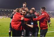 13 April 2018; Darragh Leahy of Bohemians, centre, celebrates with team-mates after scoring his side's second goal during the SSE Aitricity League Premier Division match between Shamrock Rovers and Bohemians at Tallaght Stadium in Tallaght, Dublin. Photo by Seb Daly/Sportsfile