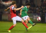 13 April 2018; Barry McNamee of Cork City in action against Simon Madden of St Patrick's Athletic during the SSE Airtricity League Premier Division match between Cork City and St Patrick's Athletic at Turner's Cross in Cork. Photo by Piaras Ó Mídheach/Sportsfile