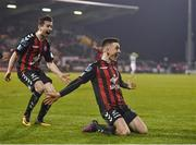 13 April 2018; Darragh Leahy of Bohemians celebrates after scoring his side's second goal during the SSE Aitricity League Premier Division match between Shamrock Rovers and Bohemians at Tallaght Stadium in Tallaght, Dublin. Photo by Seb Daly/Sportsfile