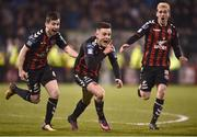 13 April 2018; Darragh Leahy of Bohemians, centre, celebrates after scoring his side's second goal during the SSE Aitricity League Premier Division match between Shamrock Rovers and Bohemians at Tallaght Stadium in Tallaght, Dublin. Photo by Seb Daly/Sportsfile