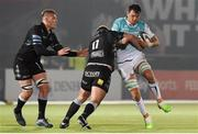 13 April 2018; Quinn Roux of Connacht is tackled by Jamie Bhatti of Glasgow Warriors during the Guinness PRO14 Round 20 match between Glasgow Warriors and Connacht at Scotstoun Stadium in Glasgow, Scotland.. Photo by Paul Devlin/Sportsfile