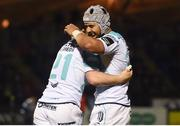 13 April 2018; Caolin Blades of Connacht celebrates his try with team-mate Stacey Ili during the Guinness PRO14 Round 20 match between Glasgow Warriors and Connacht at Scotstoun Stadium in Glasgow, Scotland. Photo by Paul Devlin/Sportsfile