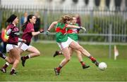 14 April 2018; Cora Maher of Loreto, Clonmel, shoots to score her side's first goal during the Lidl All Ireland Post Primary School Senior A Final match between Loreto, Clonmel, Tipperary and Loreto, Cavan at Kinnegad in County Westmeath. Photo by Matt Browne/Sportsfile