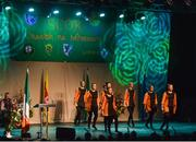 14 April 2018; Amy Dagg, Niamh Moriarty, Sinéad Carley, Rebecca Kelly, Jennine Kenna, Katie McGrath, Sarah McGuire and Sarah Moran from Na Dúnta, Westmeath, competing in the Rince Foirne category during the All-Ireland Scór Sinsir Finals 2018 at the Clayton Hotel Ballroom & Knocknarea Arena in Sligo IT, Sligo. Photo by Eóin Noonan/Sportsfile