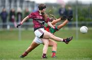 14 April 2018; Muireann Cusack of  Loreto, Cavan, scores her side's third goal despite the efforts of Sadhbh Hallinan of Loreto, Clonmel, during the Lidl All Ireland Post Primary School Senior A Final match between Loreto, Clonmel, Tipperary and Loreto, Cavan at Kinnegad in County Westmeath. Photo by Matt Browne/Sportsfile