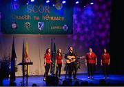 14 April 2018; Monica Mallon, Órla Treanor, Geraldine McLoughln, Blánaid McGivern and Stephen Murphy from Carrickcruppen, Armagh, competing in the Bailéad Ghrúpa category during the All-Ireland Scór Sinsir Finals 2018 at the Clayton Hotel Ballroom & Knocknarea Arena in Sligo IT, Sligo. Photo by Eóin Noonan/Sportsfile