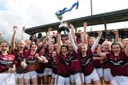 14 April 2018; Loreto, Cavan, team captains Muireann Cusack, left, and Niamh Keenaghan lift the cup as their team-mates celebrate after the Lidl All Ireland Post Primary School Senior A Final match between Loreto, Clonmel, Tipperary and Loreto, Cavan at Kinnegad in County Westmeath. Photo by Matt Browne/Sportsfile