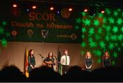 14 April 2018; Sarah Hanley, Maryann Lynch, Ríona Lynch, Samantha McHale and Paddy Hanley from St Patrick's Ardagh, Longford, competing in the Bailéad Ghrúpa category during the All-Ireland Scór Sinsir Finals 2018 at the Clayton Hotel Ballroom & Knocknarea Arena in Sligo IT, Sligo. Photo by Eóin Noonan/Sportsfile