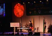 14 April 2018; Jane Reilly, John Joe Reilly and Lorraine McHugh from Abbeylara, Longford, competing in the Léiriú Stáitse category during the All-Ireland Scór Sinsir Finals 2018 at the Clayton Hotel Ballroom & Knocknarea Arena in Sligo IT, Sligo. Photo by Eóin Noonan/Sportsfile