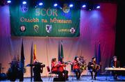 14 April 2018; Jessica Revile, Tom Reville, Kiera Revile, Dearbha Daly and Paul O'Sullivan from Bannow-Ballymitty, Wexford, competing in the Ceol Uirlise category during the All-Ireland Scór Sinsir Finals 2018 at the Clayton Hotel Ballroom & Knocknarea Arena in Sligo IT, Sligo. Photo by Eóin Noonan/Sportsfile