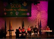 14 April 2018; Eleanor Harrison, Siobhan Mooney, Davog Frayne, Aine Coyne and Edel Walsh from Aghmore, Mayo, competing in the Ceol Uirlise category during the All-Ireland Scór Sinsir Finals 2018 at the Clayton Hotel Ballroom & Knocknarea Arena in Sligo IT, Sligo. Photo by Eóin Noonan/Sportsfile