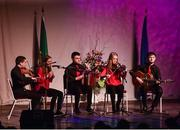 14 April 2018; Amy Moriarty, Mary Kelliher, Seán Kelliher, Cian O'Sullivan and Mike Kelliher from Fossa, Kerry, competing in the Ceol Uirlise category during the All-Ireland Scór Sinsir Finals 2018 at the Clayton Hotel Ballroom & Knocknarea Arena in Sligo IT, Sligo. Photo by Eóin Noonan/Sportsfile