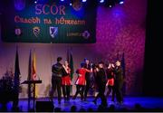 14 April 2018; Davog Frayne, James Frayne, Thomas Doherty, Sean Frayne, Rachel Lyons, Aine Duffy, Eleanor Harrison and Orna Hession from Aghamore, Mayo, competing in the Rince Seit category during the All-Ireland Scór Sinsir Finals 2018 at the Clayton Hotel Ballroom & Knocknarea Arena in Sligo IT, Sligo. Photo by Eóin Noonan/Sportsfile