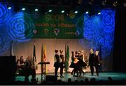 14 April 2018; Sinéad Grant, Claire Murphy, Veronica McNamara, Catherine Ryan, Leah Condon, Chloe Hennebry, Máirín McGrath and Treasa McGrath from Newcastle, Tipperary, competing in the Rince Seit category during the All-Ireland Scór Sinsir Finals 2018 at the Clayton Hotel Ballroom & Knocknarea Arena in Sligo IT, Sligo. Photo by Eóin Noonan/Sportsfile