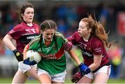 14 April 2018; Aine Fitzgerald of Loreto, Clonmel, in action against Aine Brady of Loreto, Cavan, during the Lidl All Ireland Post Primary School Senior A Final match between Loreto, Clonmel, Tipperary, and Loreto, Cavan, at  Kinnegad in County Westmeath. Photo by Matt Browne/Sportsfile