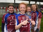 14 April 2018; Kate Slevin of Coláiste Bhaile Chláir, Claregalway with her player of the match trophy after the Lidl All Ireland Post Primary School Senior C Final match between Coláiste Bhaile Chláir, Claregalway, Galway and Scoil Mhuire, Trim, Meath at Kinnegad in County Westmeath. Photo by Matt Browne/Sportsfile