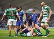 14 April 2018; Richardt Strauss of Leinster is congratulated by team-mate Andrew Porter after scoring his side's first try during the Guinness PRO14 Round 20 match between Leinster and Benetton Rugby at the RDS Arena in Dublin. Photo by Seb Daly/Sportsfile