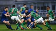 14 April 2018; Noel Reid of Leinster is tackled by Luca Bigi of Benetton Rugby during the Guinness PRO14 Round 20 match between Leinster and Benetton Rugby at the RDS Arena in Dublin. Photo by Ramsey Cardy/Sportsfile