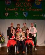 14 April 2018; Seán O'Regan, Claire O'Regan, Sinéad O'Regan, Ciara O'Gorman and Danny Collins from Carbery Rangers, Cork, being presented with the trophy by Uachtarán Chumann Lúthchleas Gael John Horan, front row, centre, and Antóin Mac Gabhann, Cathaoirleach, Coiste Náisúnta Scór, back row, left, after winning the the Bailéad Ghrúpa category during the All-Ireland Scór Sinsir Finals 2018 at the Clayton Hotel Ballroom & Knocknarea Arena in Sligo IT, Sligo. Photo by Eóin Noonan/Sportsfile