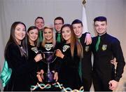 14 April 2018; Laura McCloskey, Niamh McFalone, Caitlín McNally, Caoimhe McLaughlin, James McGilligan, Paul Gunning, Ruairí McFalone and Jack McGilligan from Ualtár ó Gréachain, An Gleann, Derry, after winning the Rince Foirne category during the All-Ireland Scór Sinsir Finals 2018 at the Clayton Hotel Ballroom & Knocknarea Arena in Sligo IT, Sligo. Photo by Eóin Noonan/Sportsfile