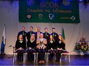 14 April 2018; Laura McCloskey, Niamh McFalone, Caitlín McNally, Caoimhe McLaughlin, James McGilligan, Paul Gunning, Ruairí McFalone and Jack McGilligan from Ualtár ó Gréachain, An Gleann, Derry, are presented with the trophy by Uachtarán Chumann Lúthchleas Gael John Horan, centre front row, and Antóin Mac Gabhann, Cathaoirleach, Coiste Náisúnta Scór, centre back row, after winning the Rince Foirne category during the All-Ireland Scór Sinsir Finals 2018 at the Clayton Hotel Ballroom & Knocknarea Arena in Sligo IT, Sligo. Photo by Eóin Noonan/Sportsfile