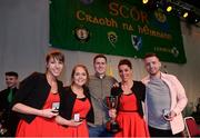 14 April 2018; Seán O'Regan, Claire O'Regan, Sinéad O'Regan, Ciara O'Gorman and Danny Collins from Carbery Rangers, Cork, after winning the the Bailéad Ghrúpa category during the All-Ireland Scór Sinsir Finals 2018 at the Clayton Hotel Ballroom & Knocknarea Arena in Sligo IT, Sligo. Photo by Eóin Noonan/Sportsfile